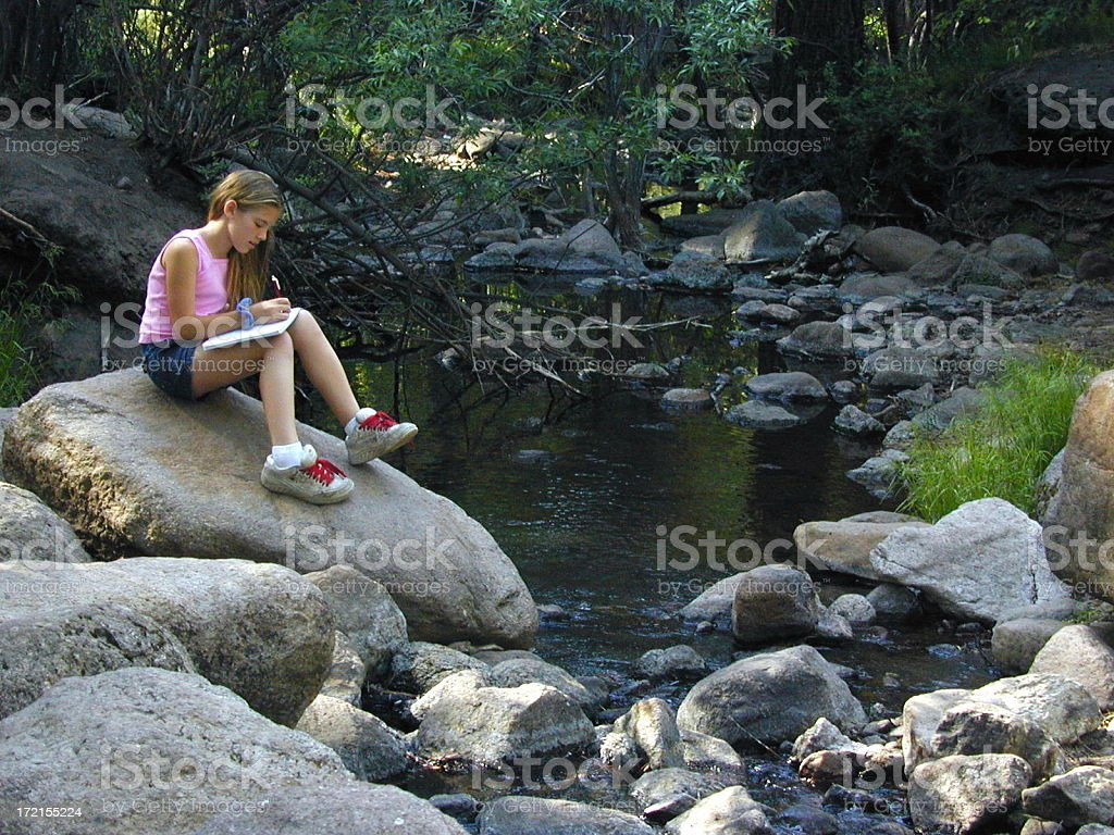 Girl with Diary stock photo