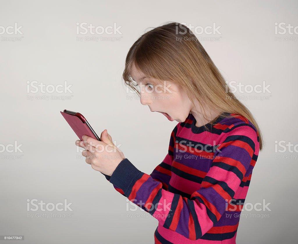 girl with digital tablet stock photo