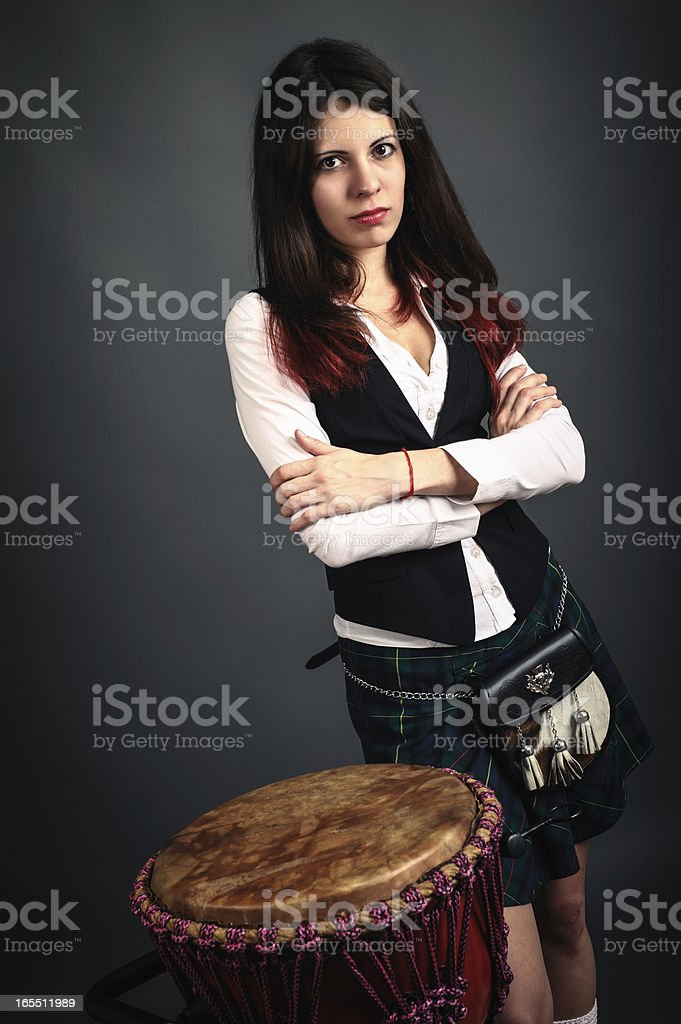Girl with djembe royalty-free stock photo
