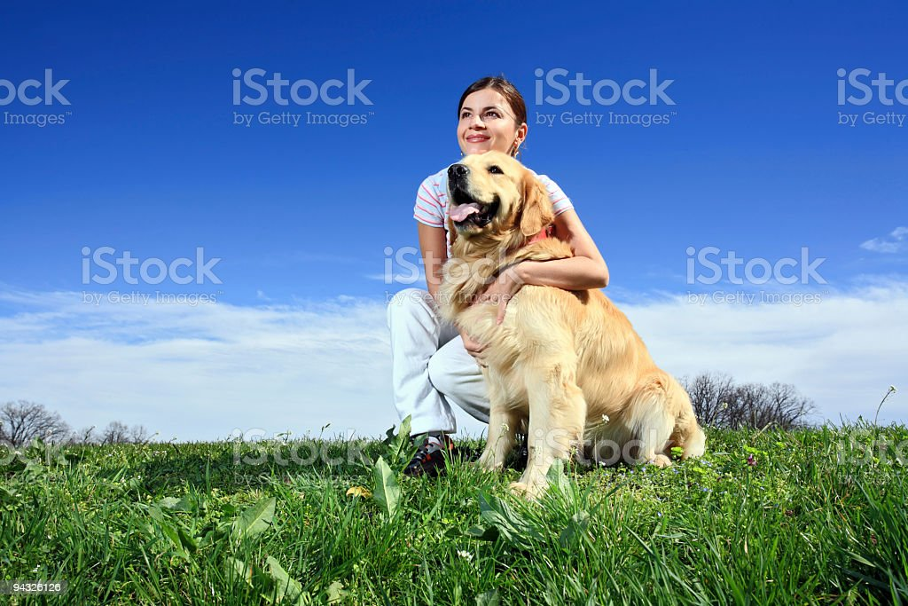 Girl with dog. royalty-free stock photo