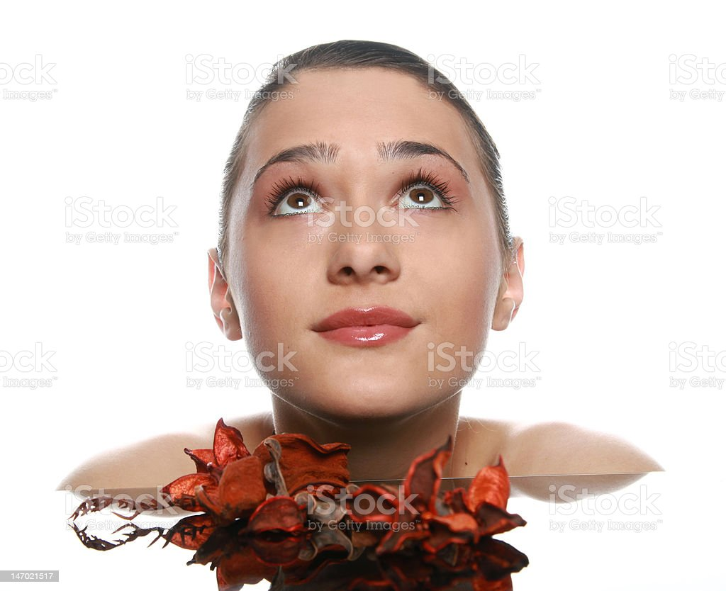 Girl with dry flowers royalty-free stock photo