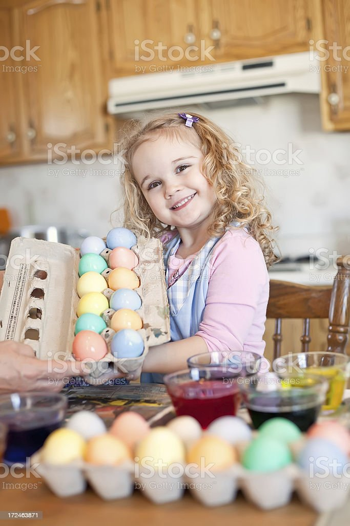 Girl with Dyed Easter Eggs royalty-free stock photo