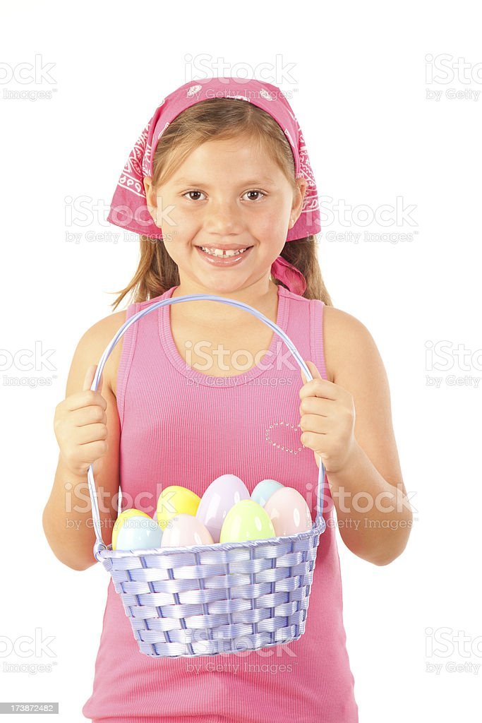 Girl With Easter Eggs royalty-free stock photo