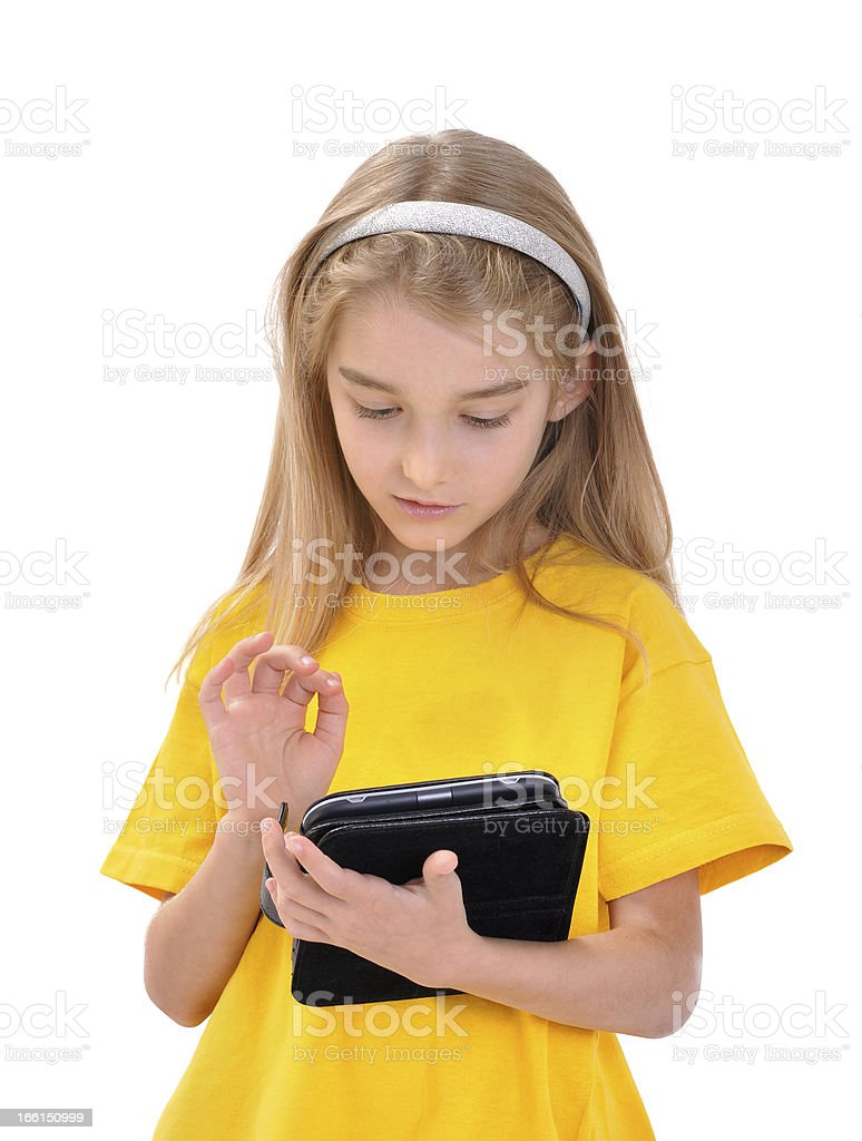 Girl with e-book royalty-free stock photo