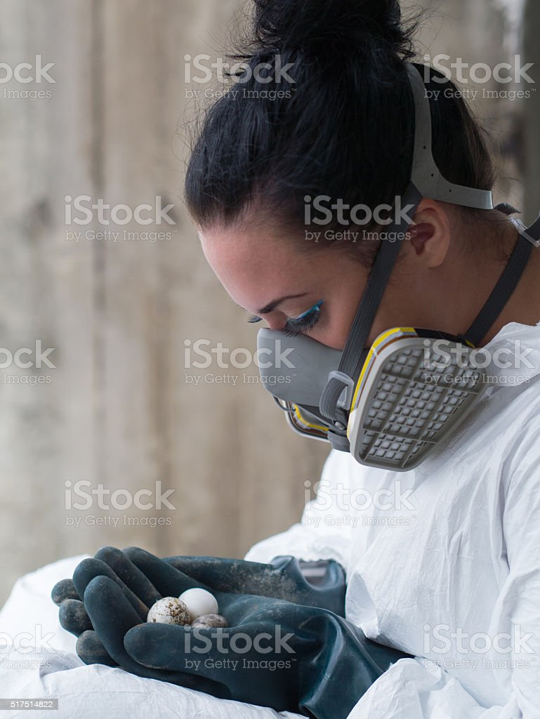 girl with eggs stock photo