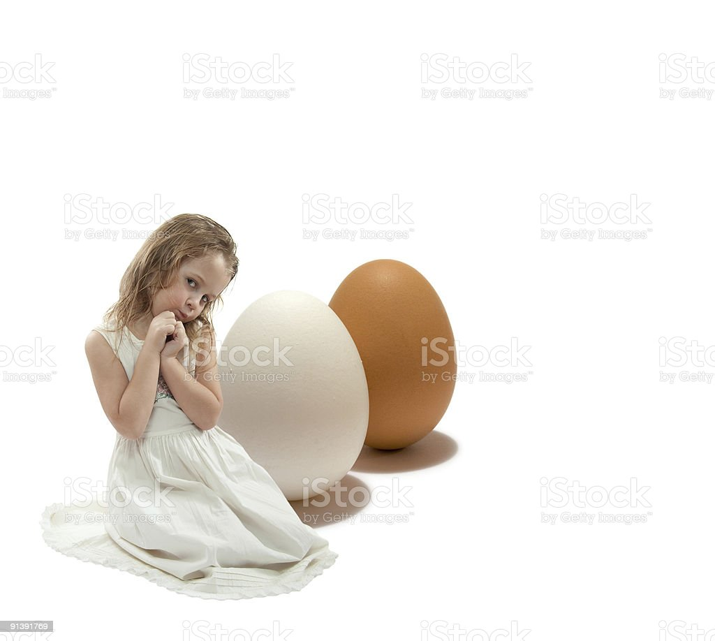 girl with eggs royalty-free stock photo