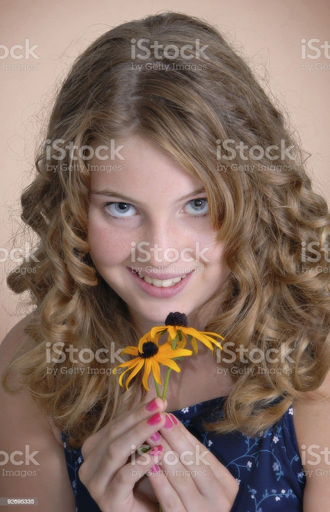 Girl with flowers, portrait royalty-free stock photo