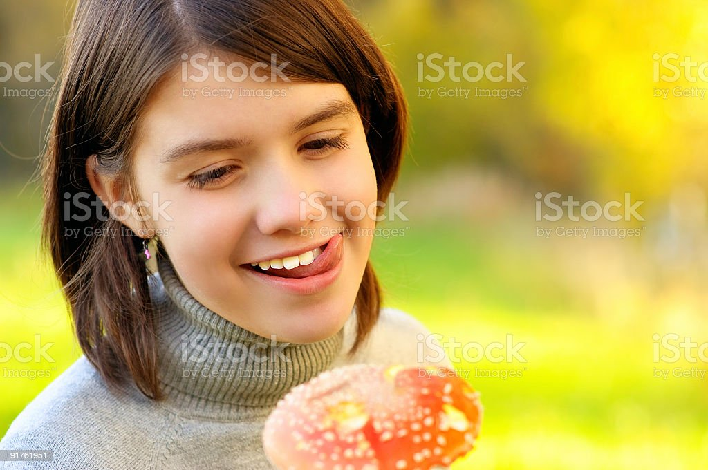 Girl with fly agaric royalty-free stock photo