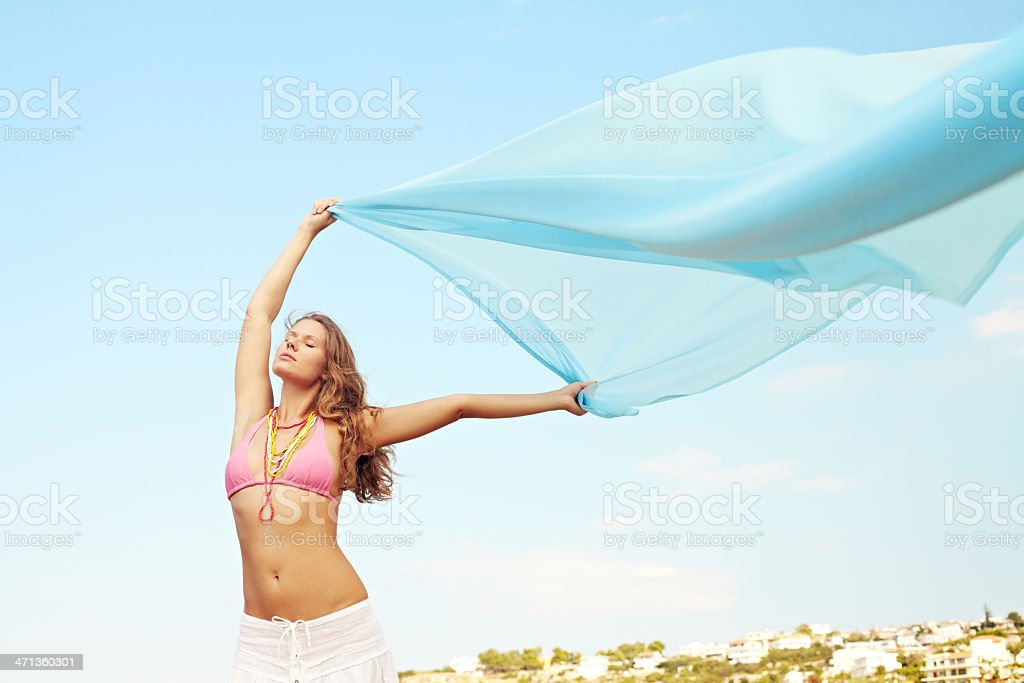 Girl with flying fabric royalty-free stock photo