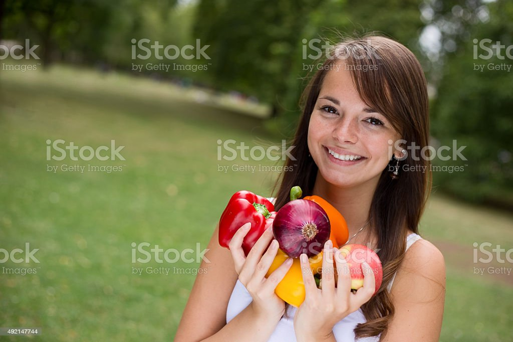 girl with food royalty-free stock photo