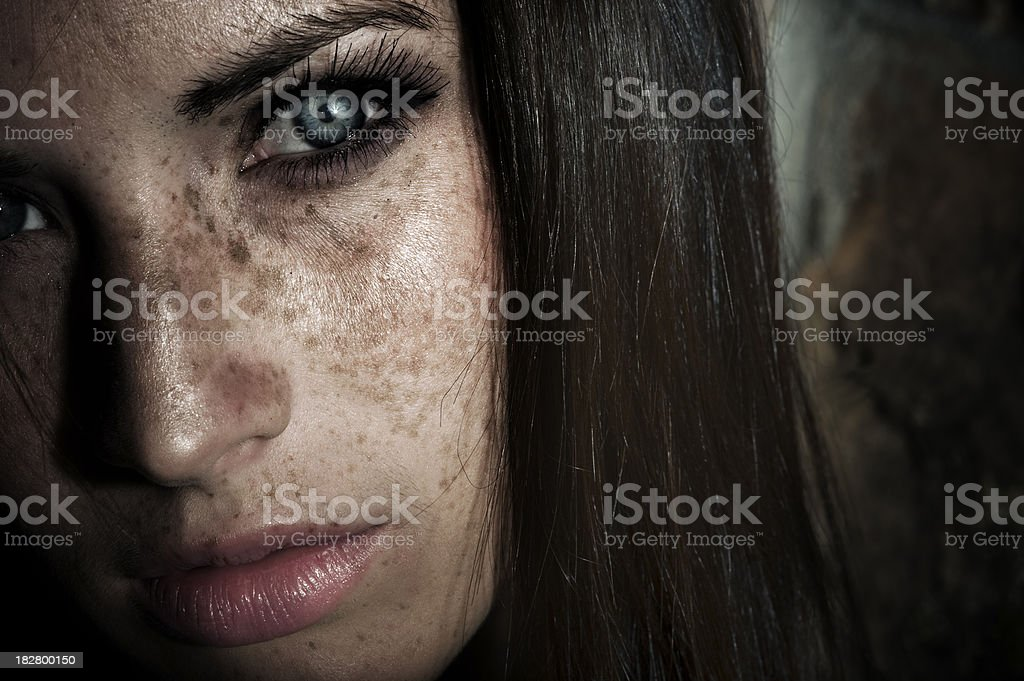 Girl With Freckles royalty-free stock photo