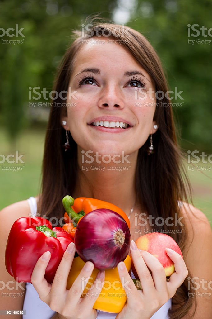 girl with fresh vegetables royalty-free stock photo