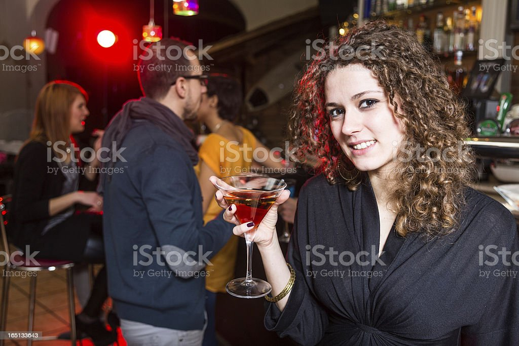 Girl with Friends in a Night Club royalty-free stock photo