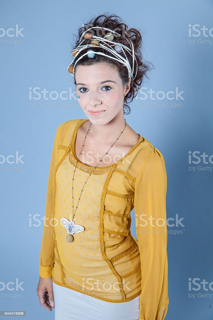 Girl with funky stringy hairdo stock photo