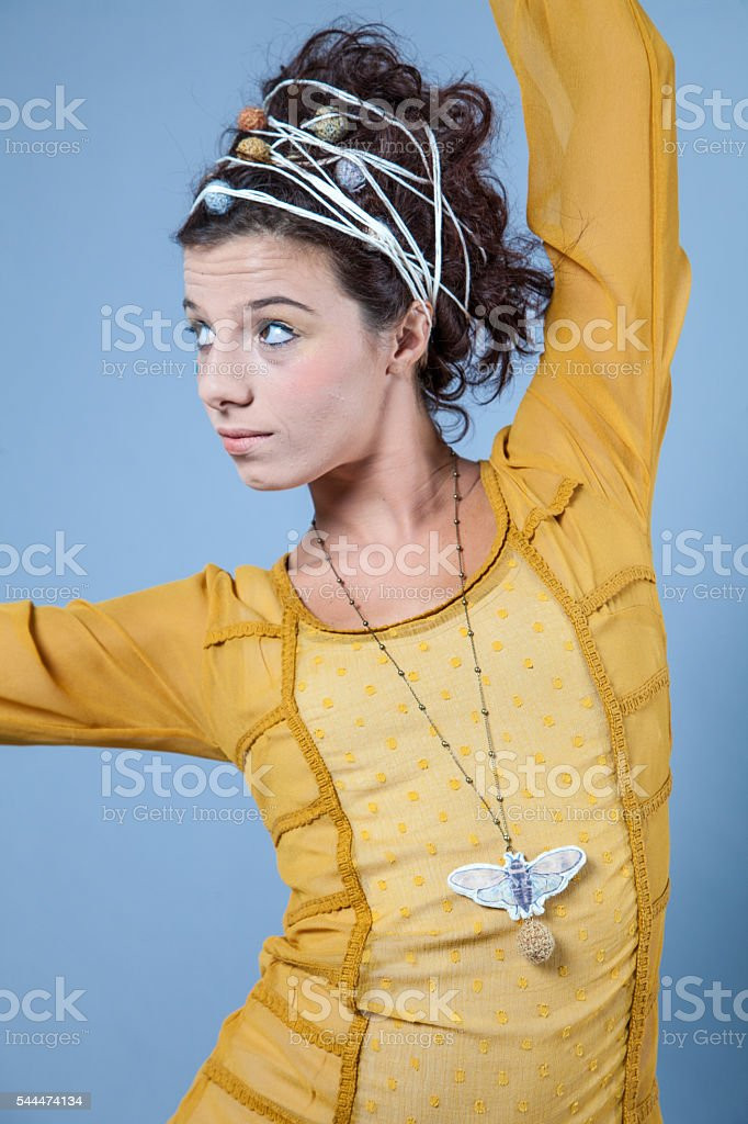Girl with funky stringy hairdo stock photo