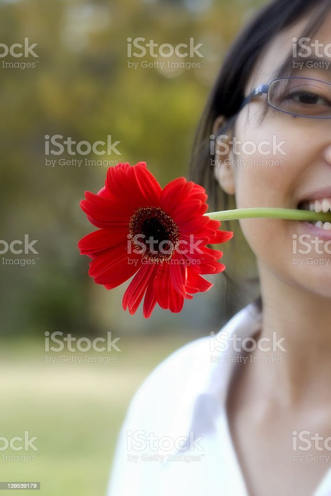 Girl with Garbera royalty-free stock photo