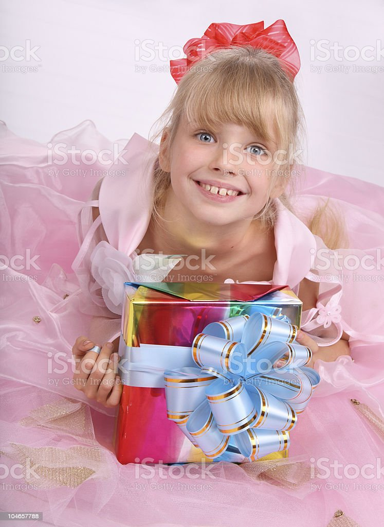 Girl with gift box. royalty-free stock photo