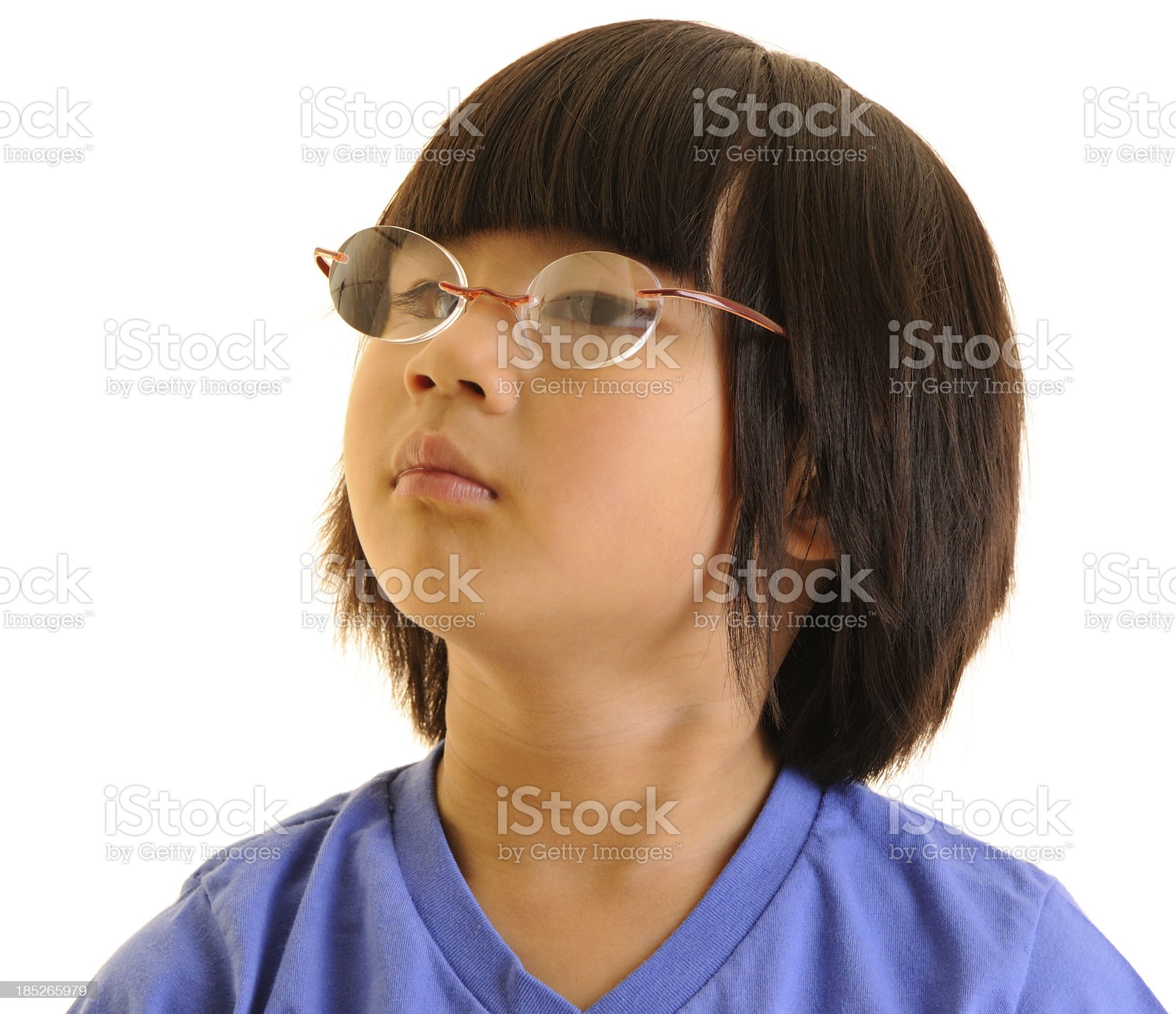 Girl With Glasses And Thoughtful Look royalty-free stock photo