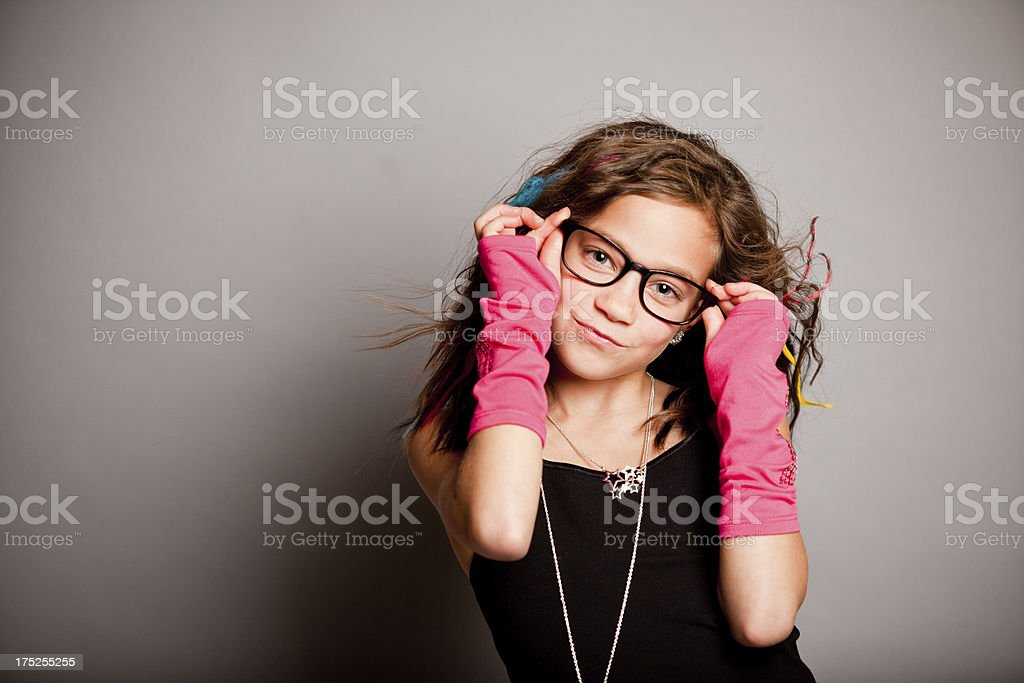 Girl with Glasses Smiling for Camera royalty-free stock photo