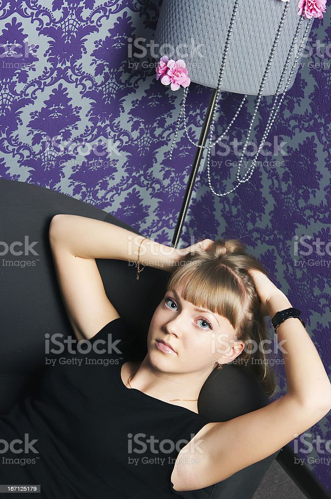girl with gold hair royalty-free stock photo