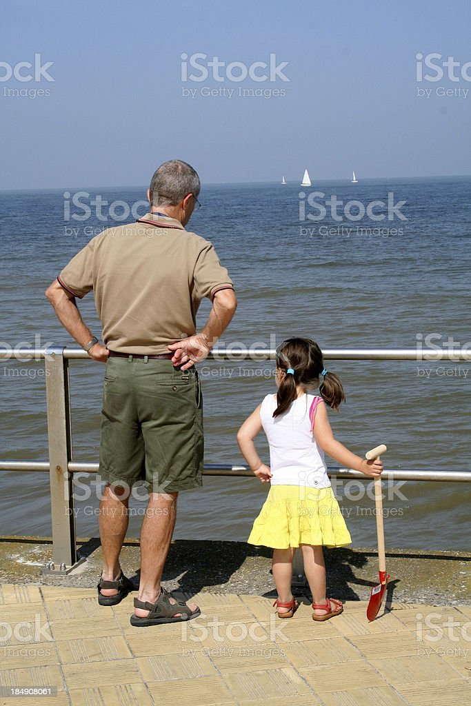 girl with grandfather royalty-free stock photo