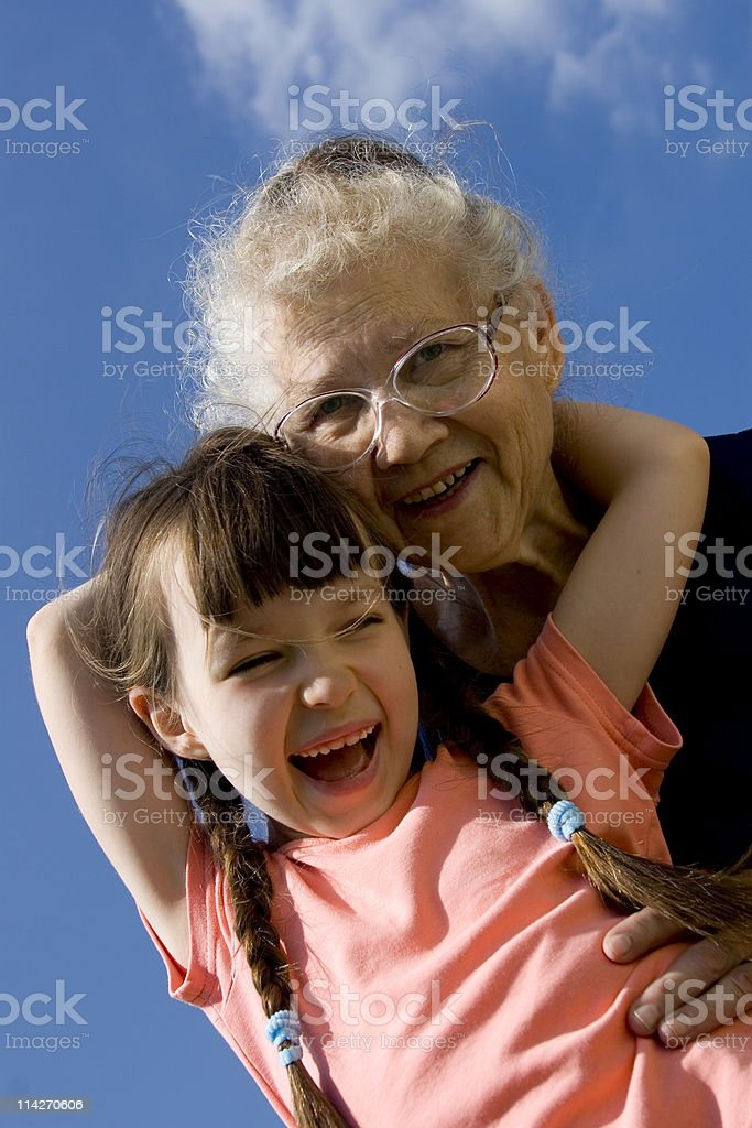 Girl with grandma royalty-free stock photo