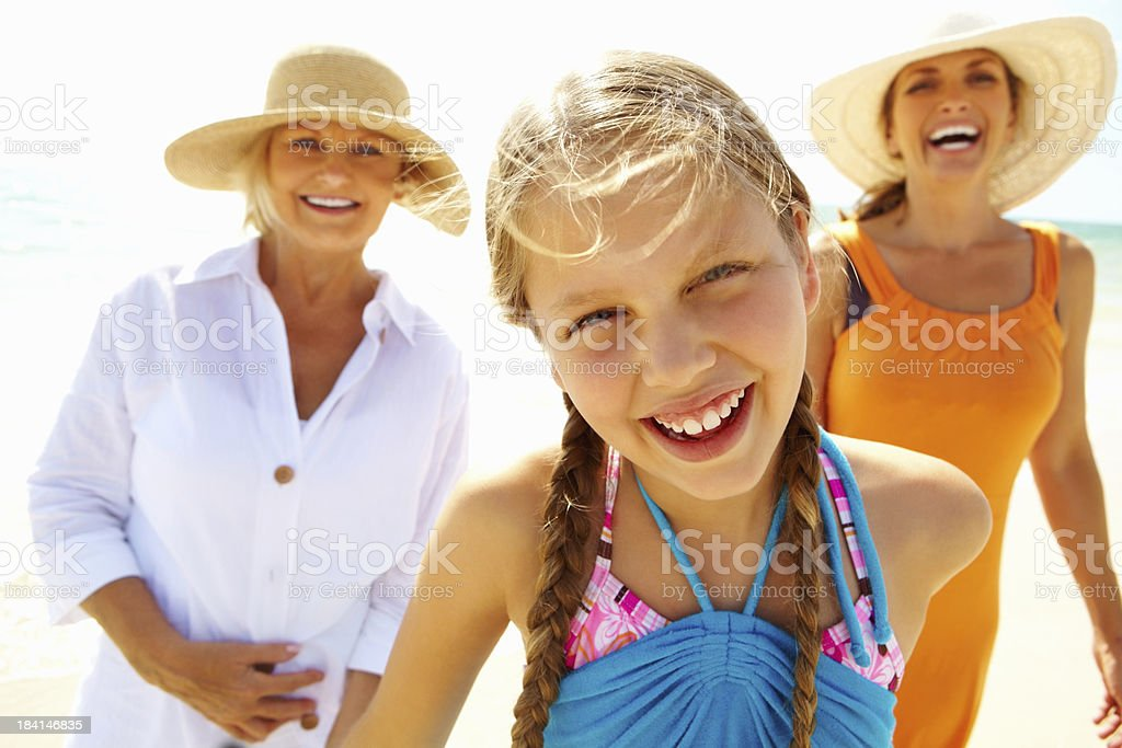 Girl with grandmother and mother having a great time royalty-free stock photo