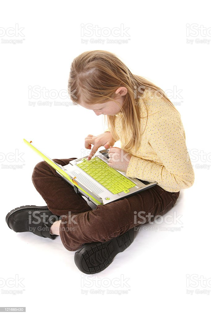 girl with green computer stock photo