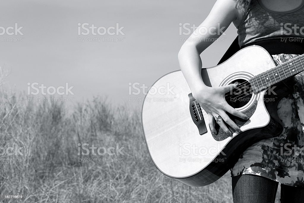 Girl with Guitar royalty-free stock photo