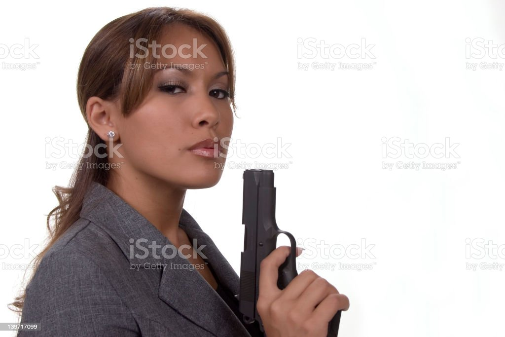 Girl With Gun stock photo