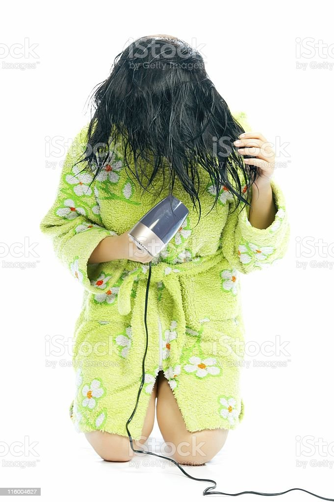 girl with hair-dryer royalty-free stock photo