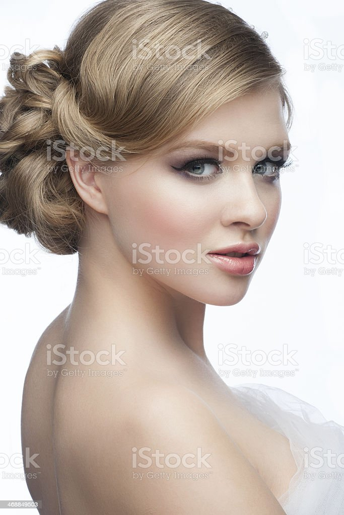Girl with hairstyle and makeup stock photo