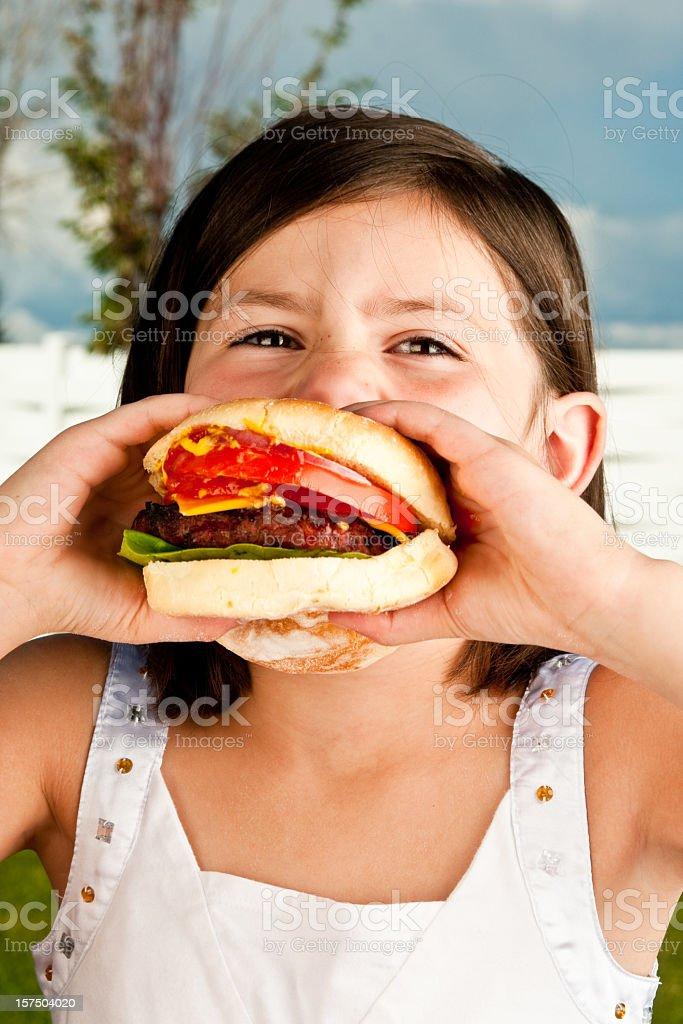 Girl with Hamburger royalty-free stock photo