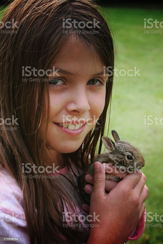 Girl with hare royalty-free stock photo
