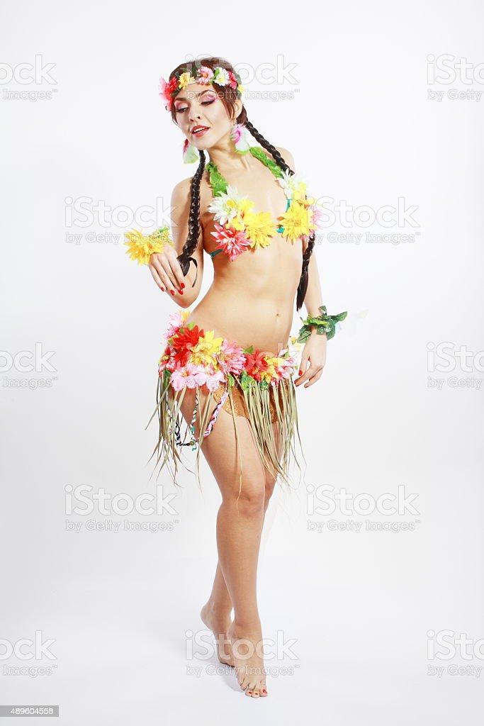 girl with Hawaiian accessories stock photo