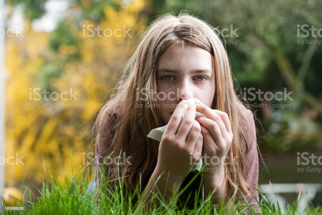 Girl with Hay Fever outside in Yard royalty-free stock photo
