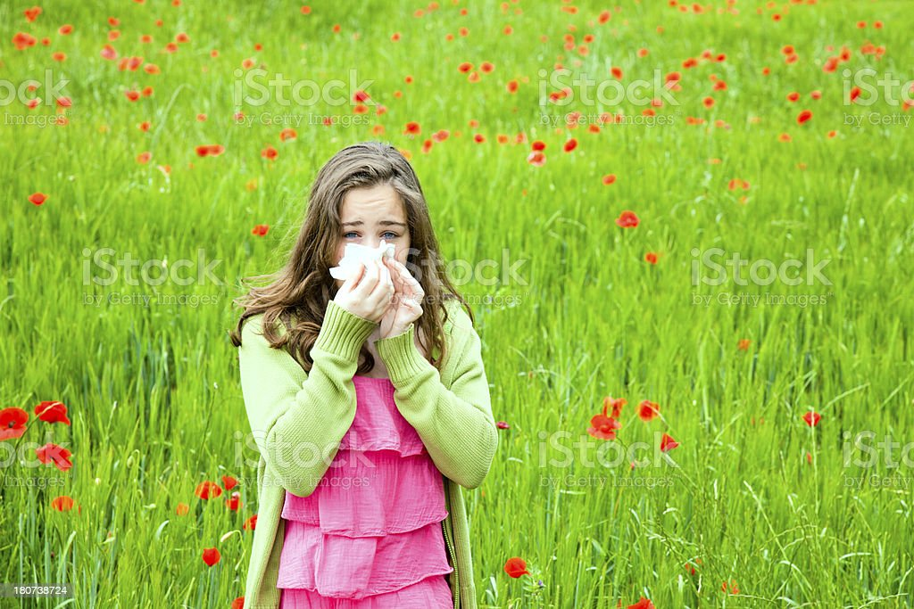 Girl with hay fever royalty-free stock photo