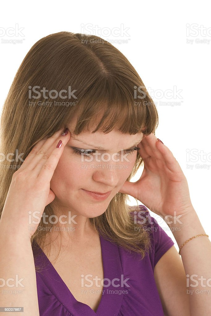 Girl with headache royalty-free stock photo