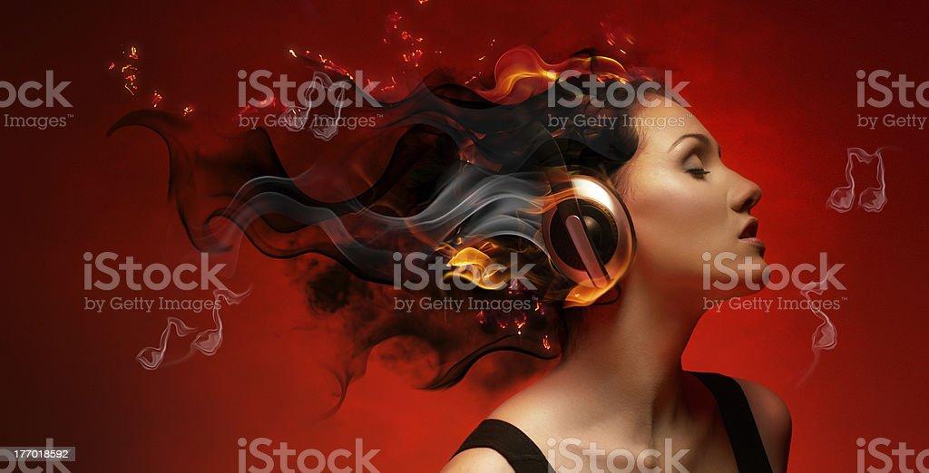 girl with headphones royalty-free stock photo