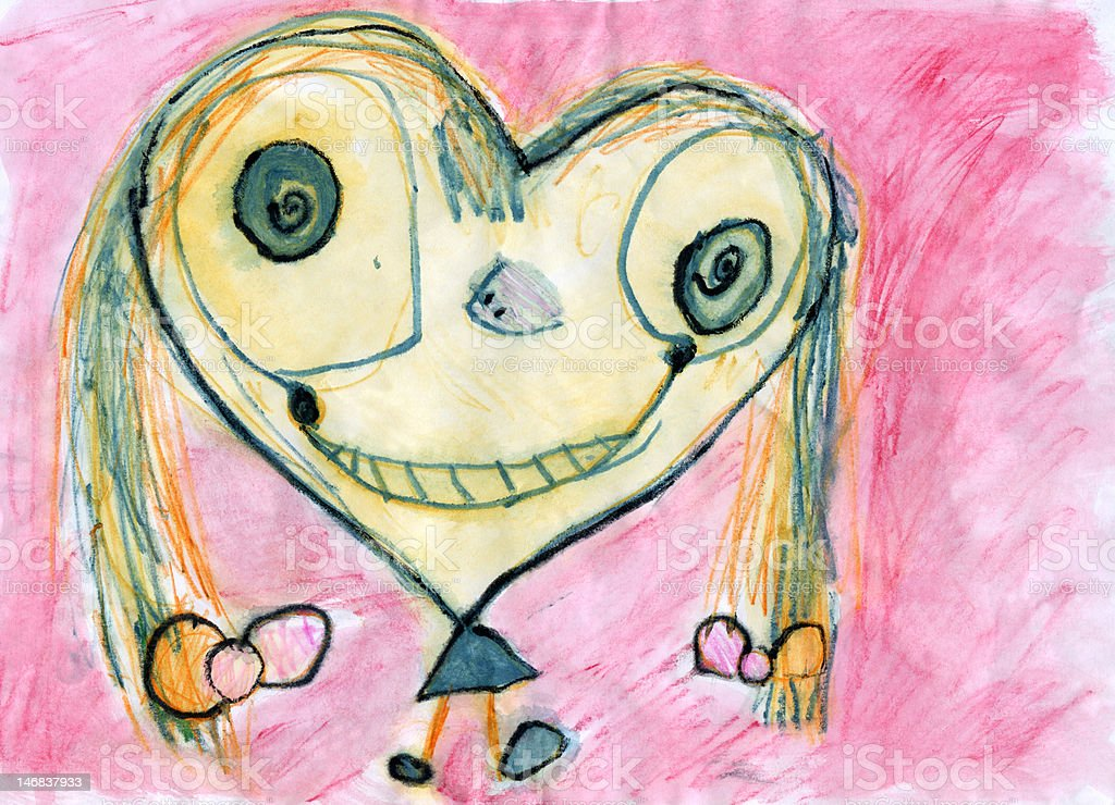 CHILD'S ARTWORK - 'Girl with heart-shaped face' stock photo