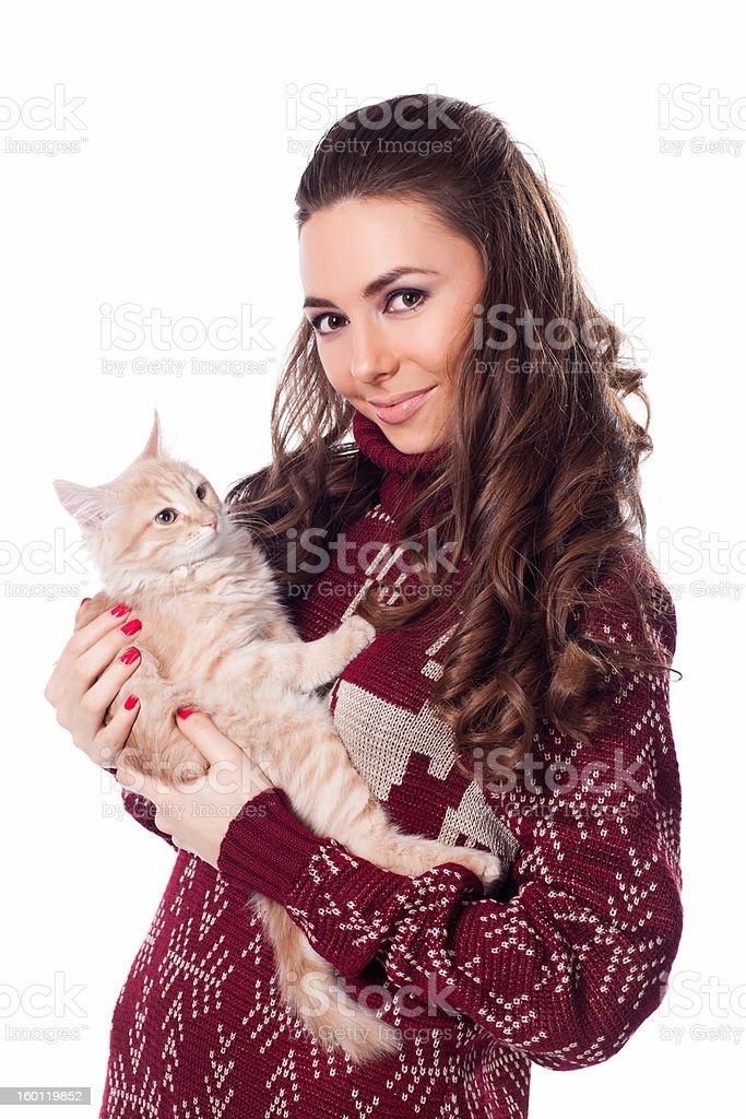 Fille avec son chat photo libre de droits