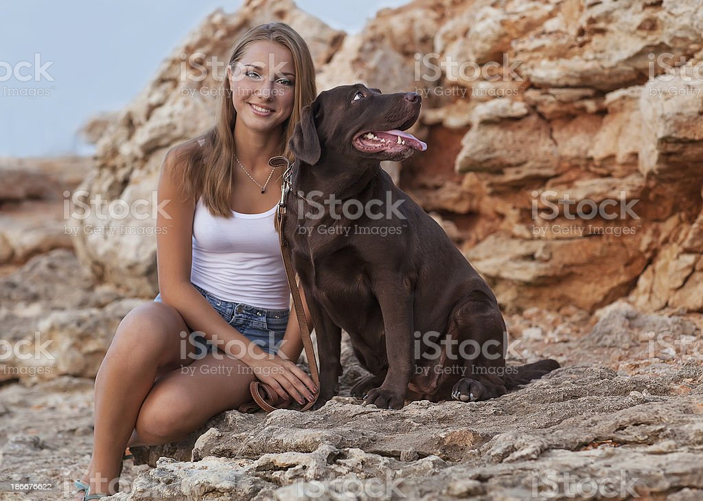 Girl with her dog. royalty-free stock photo
