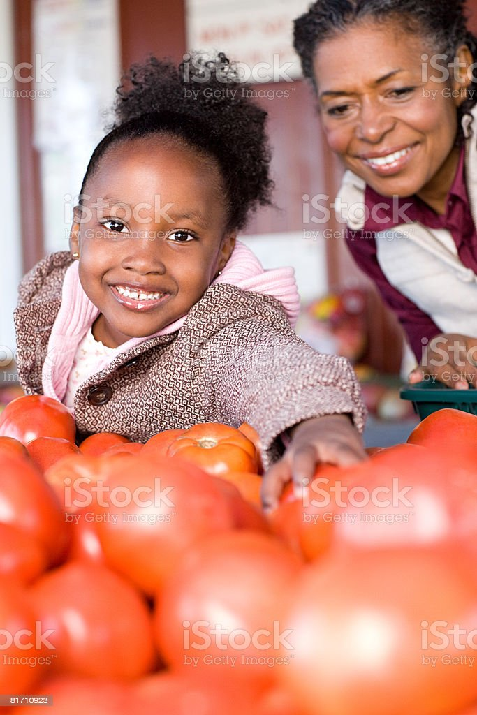 A girl with her grandmother choosing tomatoes royalty-free stock photo