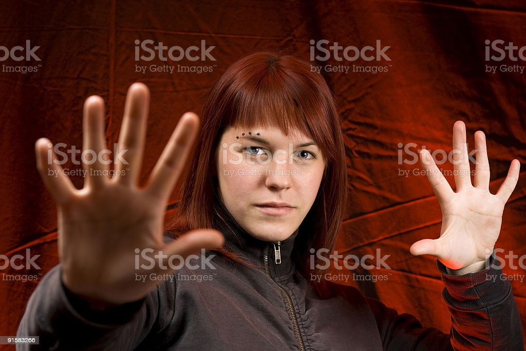 Girl  with her hands in front of the camera royalty-free stock photo