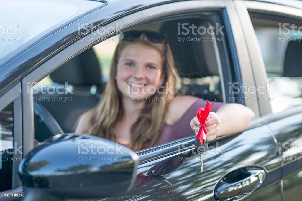 Girl with Her New Car stock photo