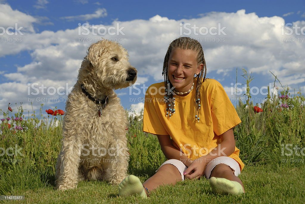Girl with her pet dog royalty-free stock photo