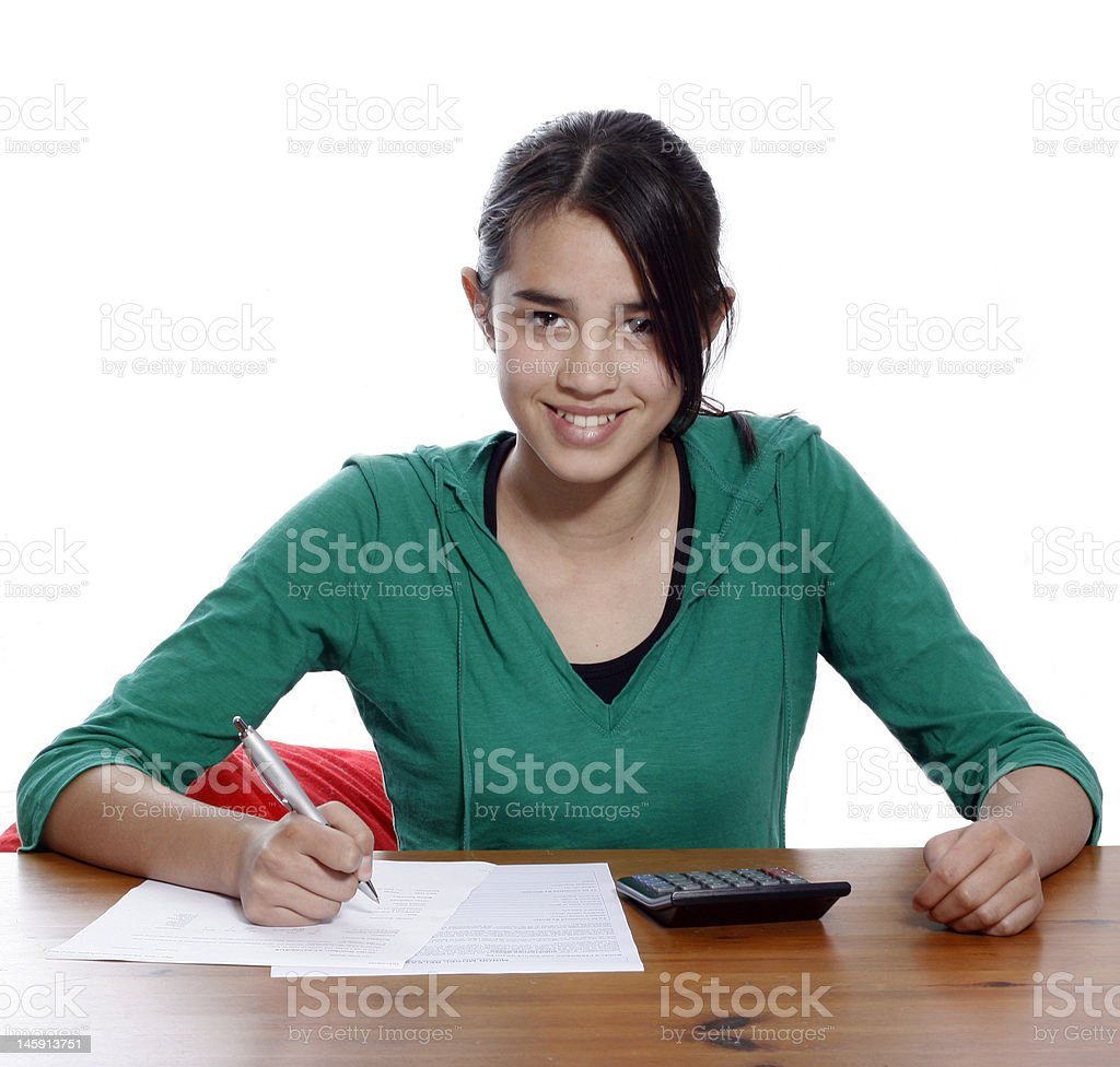 Girl with homework royalty-free stock photo