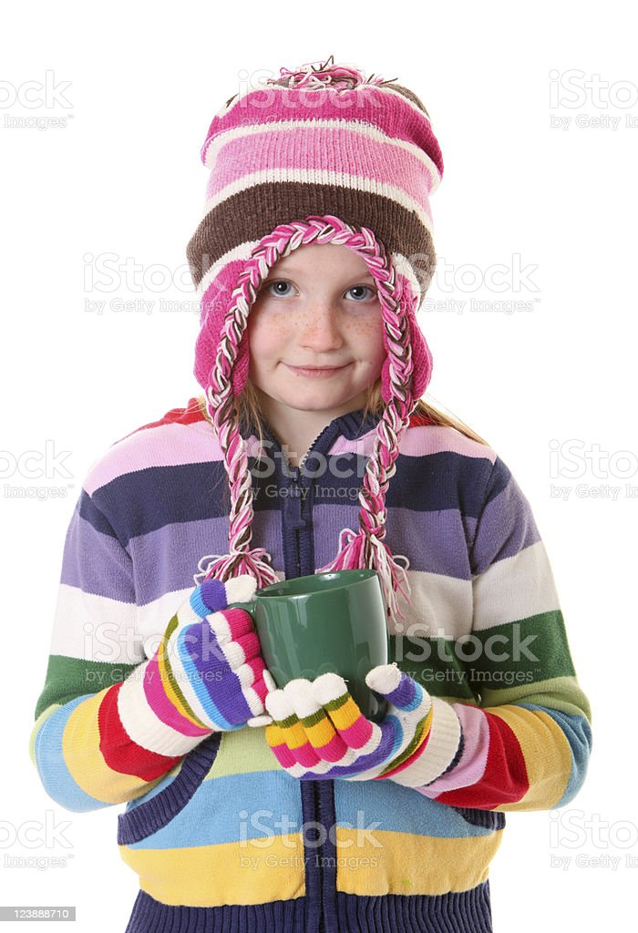 girl with hot cocoa stock photo