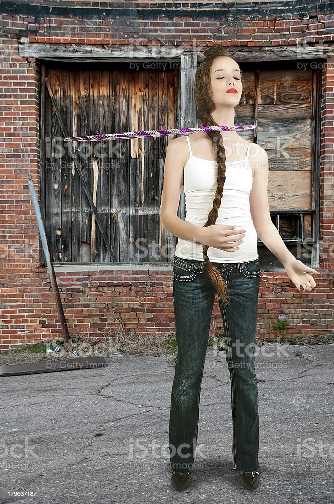 Girl with Hula Hoop stock photo