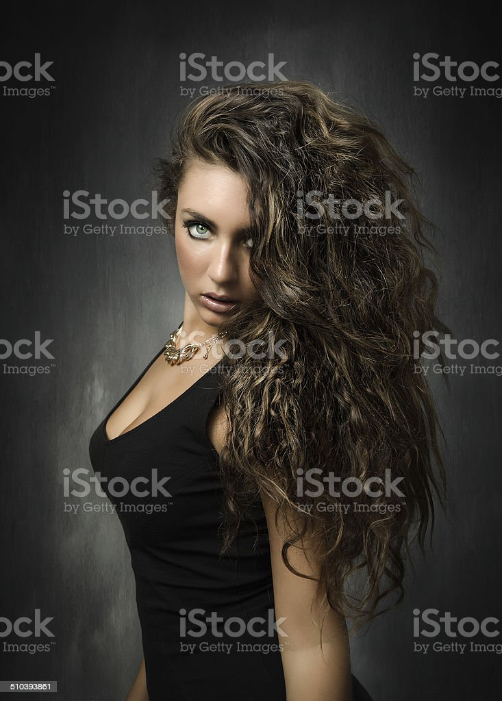 girl with incredible green eyes and lyon hair stock photo